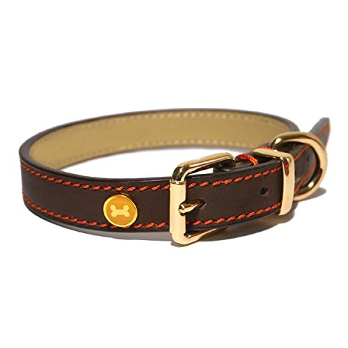 Rosewood-Luxury-Leather-Dog-Collar-10-14-inch-Brown-0