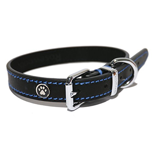 Rosewood-Luxury-Leather-Dog-Collar-14-18-inch-Black-0